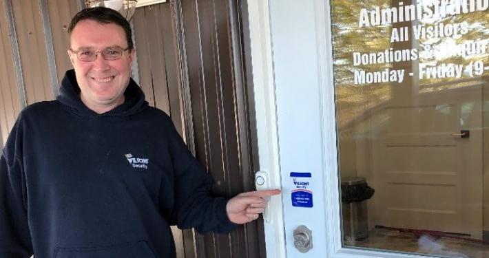 Sticker on door